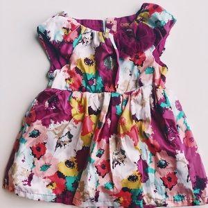 Cherokee 9M floral purple short sleeve dress